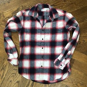 Gap Shirt Flannel Button Up Plaid Red White Navy